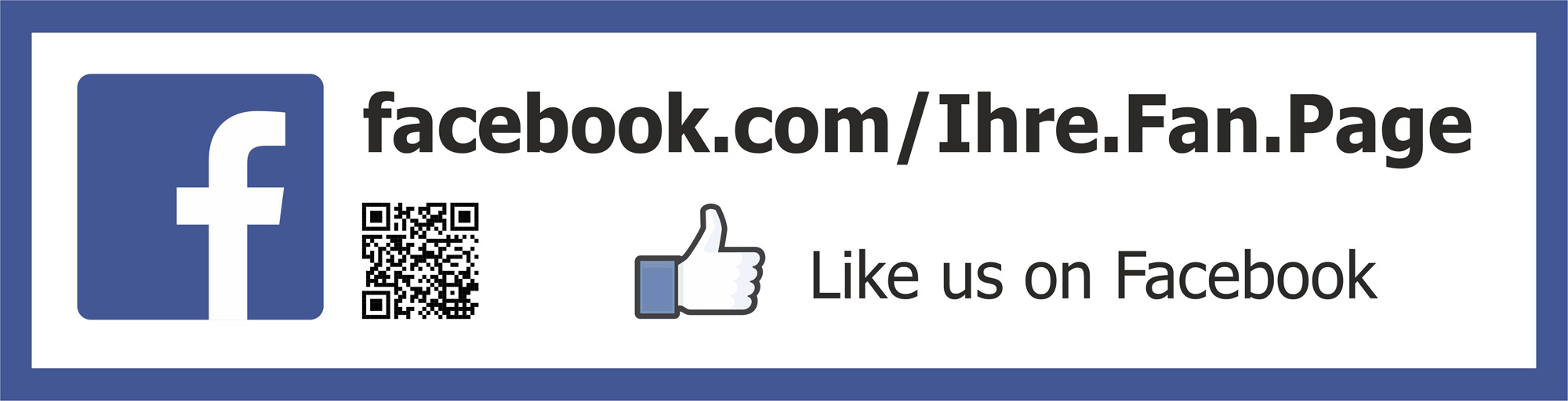 Facebook aufkleber schild gef llt mir sticker mit qr for Like us on facebook sticker template