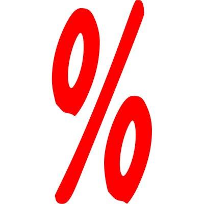 Prozent Zeichen Schaufensterbeschriftung